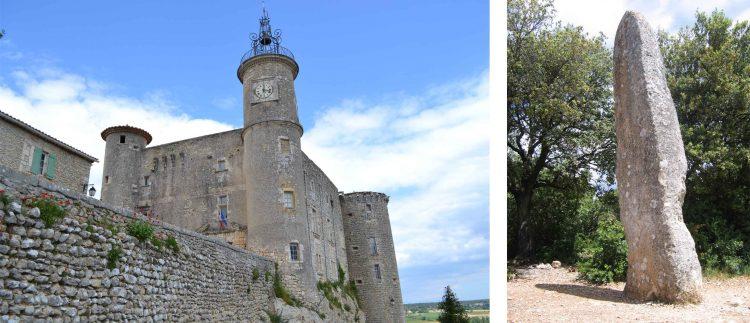 Chateau de Lussan et Menhir de Lèque
